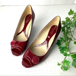 Naturalizer N5 Comfort Wedge Peep Toe Wine/Red